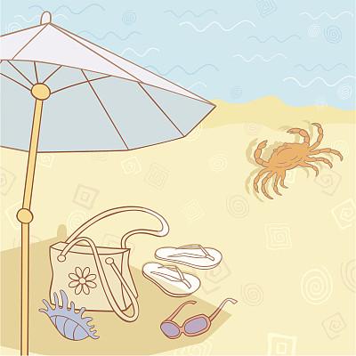 沙滩包,海滩遮阳伞,沙子,夏天,阴影,柔和色,轮廓,海洋,太阳镜,螃蟹