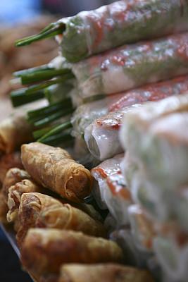 春卷,垂直画幅,小吃,食品,油炸,摄影
