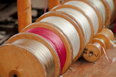 线轴,颜色,水平画幅,纺织品,银色,木制,无人,时尚,纤维,工厂