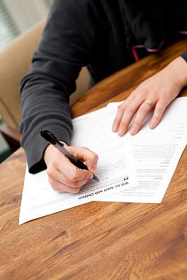 女人,遗嘱,垂直画幅,留白,文档,专业人员,彩色图片,申请表,公司企业,商务