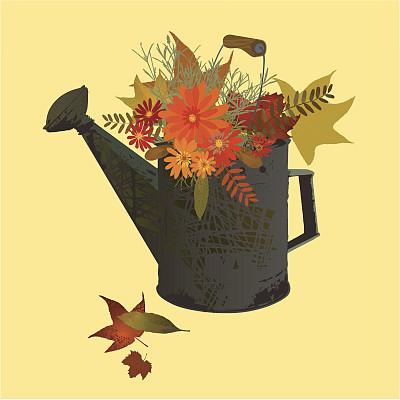 仅一朵花,园林,秋天,式样,化学元素周霸王期表,喷壶,褐色,art deco风格,纹理效果,无人