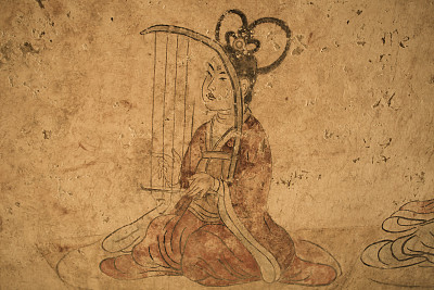 唐朝,泥墙画,陵墓,纹理效果,古老的,泥土,仅成年人,过时的,彩色图片