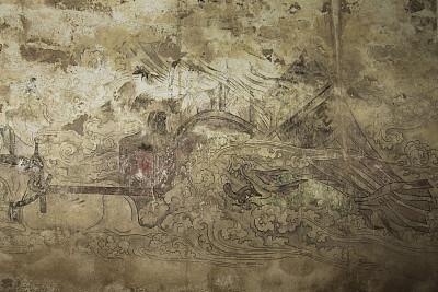 唐朝,泥墙画,远古的,中国龙,艺术,陵墓,褐色,水平画幅,纹理效果,绘画插图