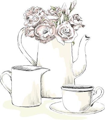 早餐,艺术,无人,绘画插图,玫瑰,饮料,咖啡,茶,美术工艺