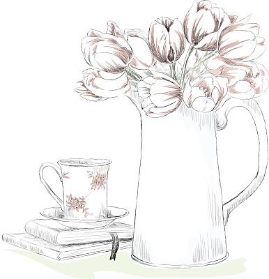 早餐,艺术,郁金香,无人,绘画插图,茶匙,饮料,咖啡,茶