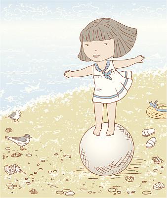 球,女孩,无边女帽,绘画插图,风,沙子,鸟类,卡通,海滩,童年