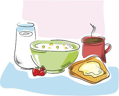 早餐,水果,无人,绘画插图,黄油,玻璃杯,玉米,酸奶,卡通,饮料