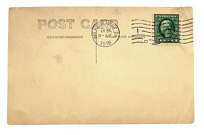 空白的,明信片,留白,过去,水平画幅,无人,古老的,白色背景,维多利亚女王时代风格,邮戳