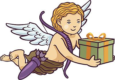 小天使,礼物,丘比特,可爱的,弓箭,绘画插图,天使,性格,卡通,缎带