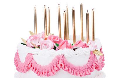 蛋糕,生日蜡烛,水平画幅,生日蛋糕,无人,白色背景,周年纪念,生日,背景分离,白色