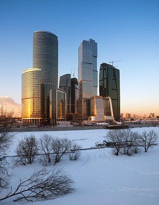 冬天,城市,莫斯科,垂直画幅,水,天空,未来,客船,雪,当地著名景点