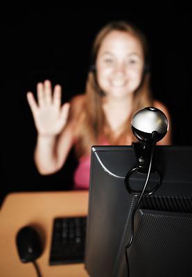 视频会议摄像机,可爱的,显示器,波形,接力赛,金色头发,免提装置,垂直画幅,留白,仅成年人