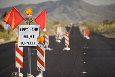 道路工程,方向标,建筑业,沥青,水平画幅,无人,路,街道,亚利桑那,摄影