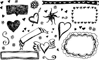 情人节,乱画,绘画插图,边框,无人,符号,仅一朵花,我爱你,想法