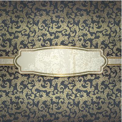 金色,式样,背景,螺旋花纹呢,贺卡,古董,边框,无人,古老的