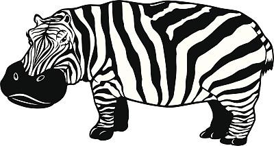 河马,哺乳纲,野生动物,斑马,绘画插图,动物,吉祥物,卡通,狩猎动物,矢量