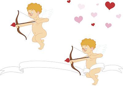 丘比特,小天使,射箭弓,箭,可爱的,绘画插图,天使,动物身体部位,翅膀,卡通