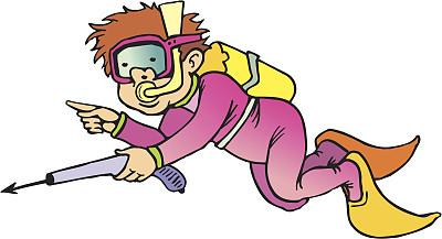 水下,猎人,水中呼吸器,潜水镜,水,水肺潜水,绘画插图,卡通,泳装,仅男人
