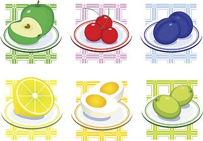 食品,盘子,樱桃,绘画插图,海产,夏天,图像,柠檬,甜点心