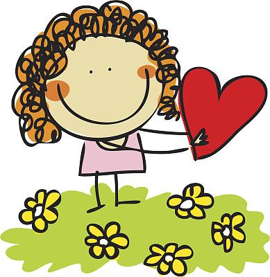 女孩,儿童画,自然,小的,可爱的,绘画插图,人,婴儿,卡通,草