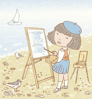 艺术家,小的,贝雷帽,画架,调色板,沙子,绘画插图,鸟类,卡通,画笔