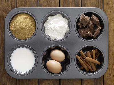 蛋糕,成分,红糖,烤盘,水平画幅,高视角,无人,饮料,灶台,卵