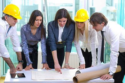 蓝图,建筑师,财会,建筑承包商,套装,男商人,文档,经理,男性,青年人