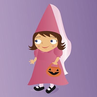 公主,小的,绘画插图,人,仅一个女孩,女孩,童年,一个人