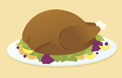火鸡肉,饮食,装饰菜,白肉,无人,绘画插图,矢量,食品