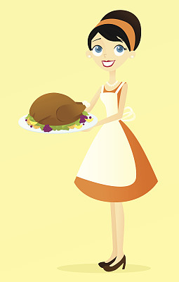 女人,火鸡肉,饮食,仅一个女人,绘画插图,人,围裙,仅成年人,仅女人,食饮供应