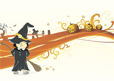女巫,女孩,青少年,绘画插图,南瓜,扫帚,卡通,图姆斯通,植物,漩涡形