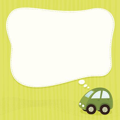 绿色,汽车,垂直画幅,留白,边框,无人,绘画插图,标签,想法
