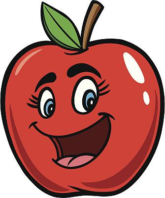 卡通,苹果,自然,饮食,水果,无人,绘画插图,红色,蒸汽,吉祥物