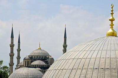 蓝色清真寺,伊斯坦布尔,拱廊,正面视角,纪念碑,灵性,古老的,清真寺,夏天,国际著名景点