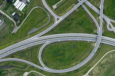 公路,航拍视角,高架道路,高架桥,水平画幅,高视角,无人,路,半空中,交通