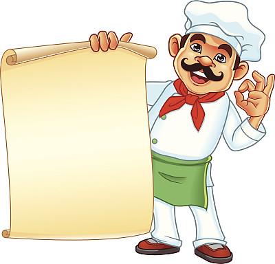 羊皮纸,菜单,拿着,留白,消息,绘画插图,膳食,小胡子,卡通,男性
