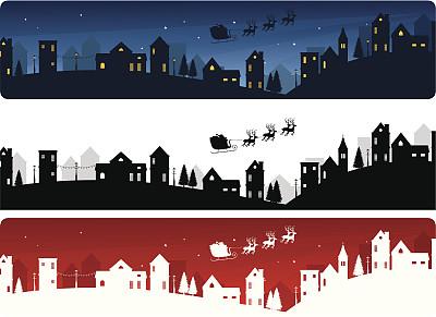 窗户,动物雪车,背景,节日,天空,绘画插图,圣诞树,城市