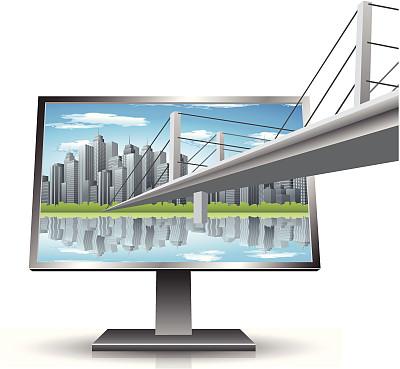 显示器,天空,未来,外立面,无人,绘画插图,巨大的,计算机制图,计算机图形学,户外