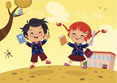 重返校园,校服,学校用品,裙子,背包,铅笔,儿童教育,知识,绘画插图,鸟类