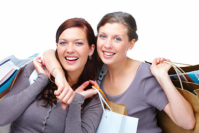 快乐,特写,购物袋,友谊,两个人,美,女人,水平画幅,美人