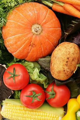 垂直画幅,饮食,胡萝卜,食品杂货,十字花科,甜玉米,无人,南瓜,有机食品,玉米
