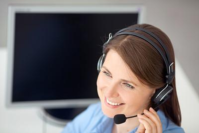 操作员,免提装置,留白,服务业职位,仅成年人,青年人,专业人员,录音设备,放音设备,信心
