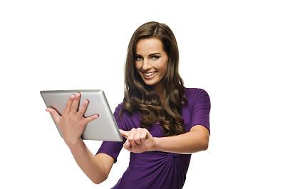 青年女人,平板电脑,美,半身像,水平画幅,注视镜头,美人,白人,仅成年人,网上冲浪