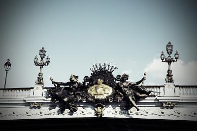 亚历山大三世桥,香榭丽舍区,新艺术主义,纪念碑,水平画幅,无人,都市风景,彩色图片,雕塑,著名景点