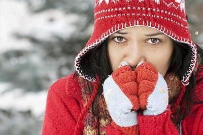 冻结的,青年女人,美,青少年,公园,青春期,水平画幅,注视镜头,雪
