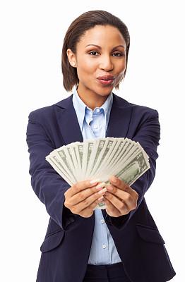 女商人,分离着色,美国五十美元,商务,专业人员,背景分离,肖像,一个人,正装,女人