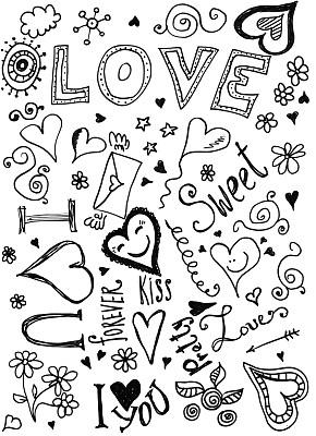 乱画,情人节,垂直画幅,绘画插图,无人,符号,玫瑰,仅一朵花,单词