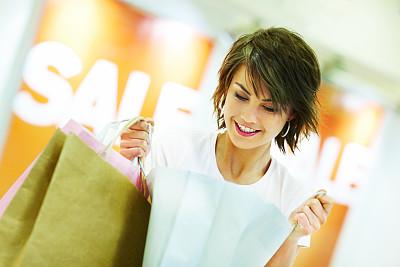 购物袋,青年女人,美,女人,水平画幅,可爱的,快乐,人,女孩,彩色图片