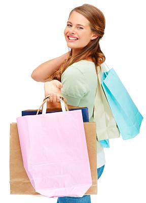 购物袋,儿童,可爱的,女性,白色,垂直画幅,美,女人,快乐