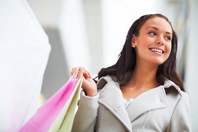 女人,购物袋,儿童,注视镜头,特写,美,水平画幅,可爱的,快乐